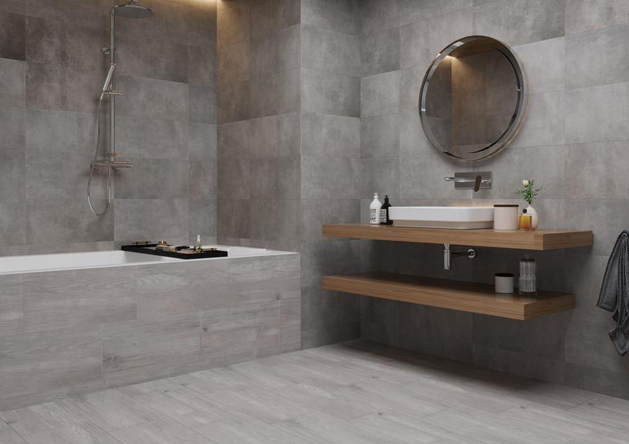 Aranżacja szarej łazienki w betonie i drewnie