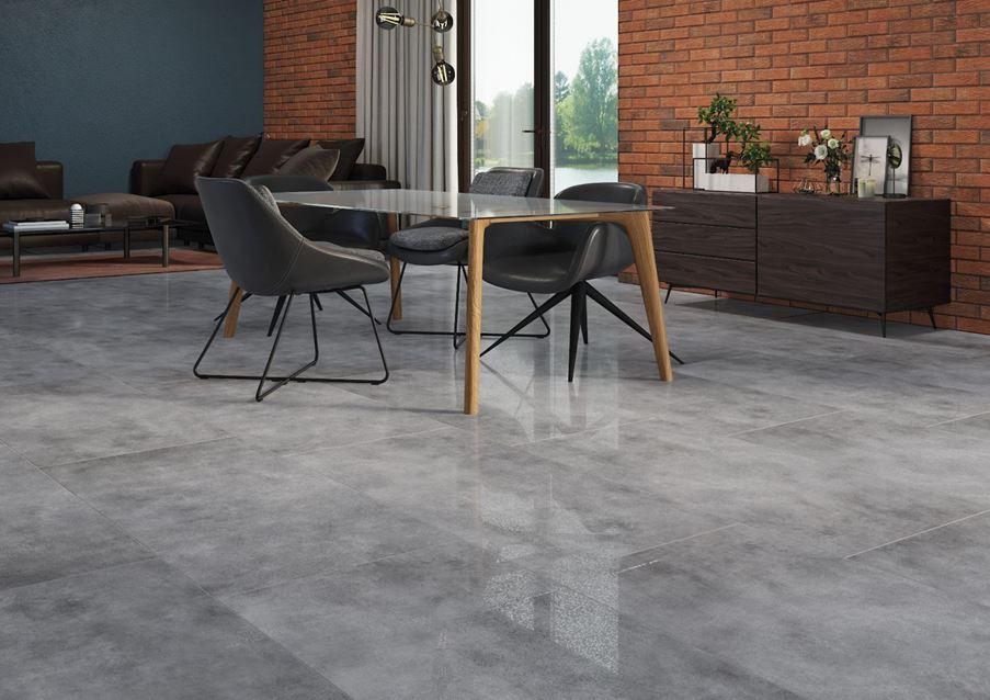 Cegła i beton w salonie Cerrad Batista