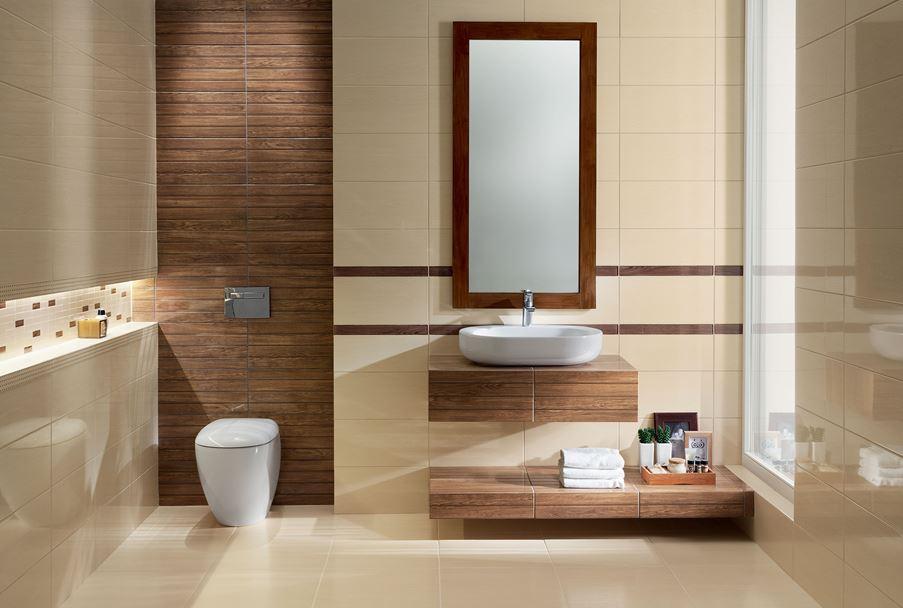 Nowoczesna łazienka z drewnianymi akcentami