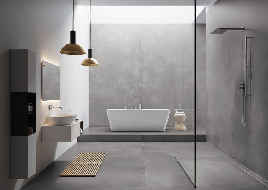 Minimalistyczna łazienka z betonowymi płaszczyznami