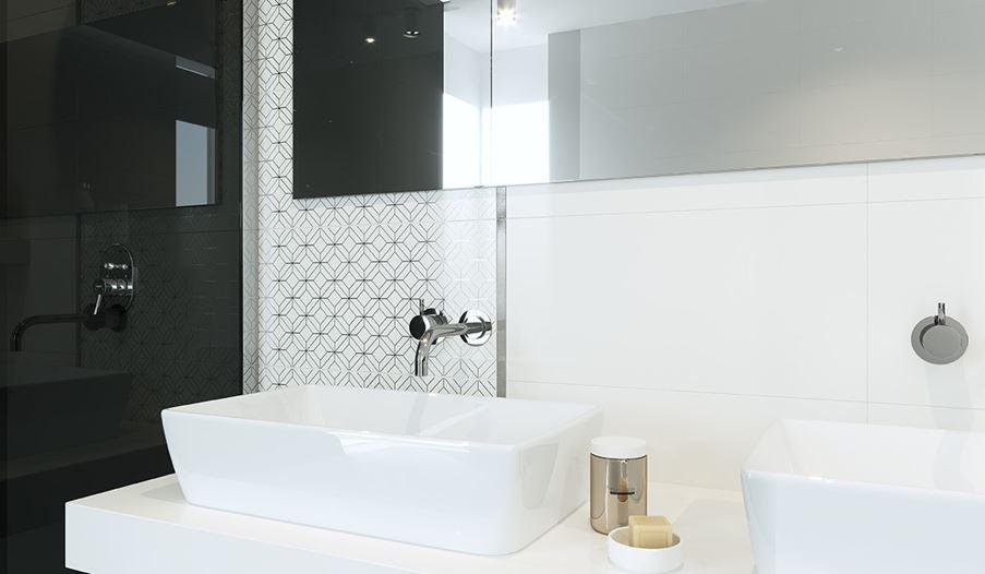 Strefa umywalkowa w biało-czarnej łazience Opoczno Black Glamour