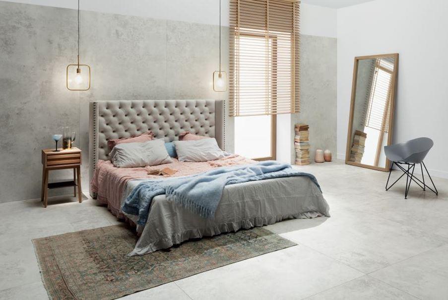 Nieoczywisty beton w sypialni Tubądzin Torano