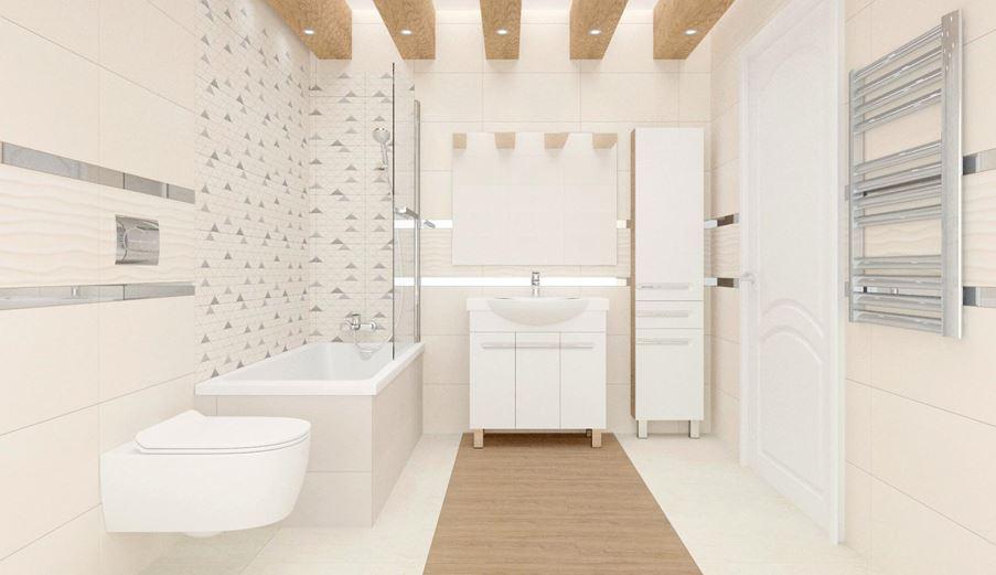 Przytulna łazienka w beżowym odcieniu - Tubądzin Perlato