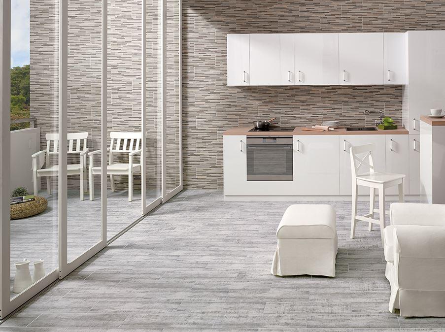 Biała kuchnia z szara podłogą Cerrad Celtis