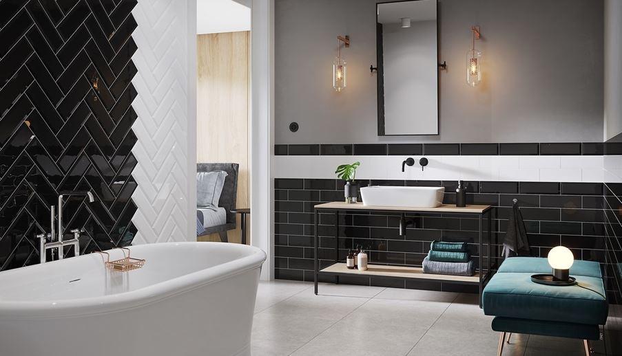 Łazienka z czarno-białymi kaflami Opoczno Salsa&Metro Style