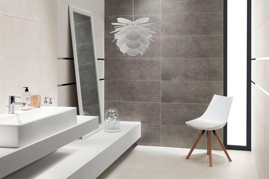 Aranżacja łazienki w odcieniach bieli i szarości - Tubądzin Integrally