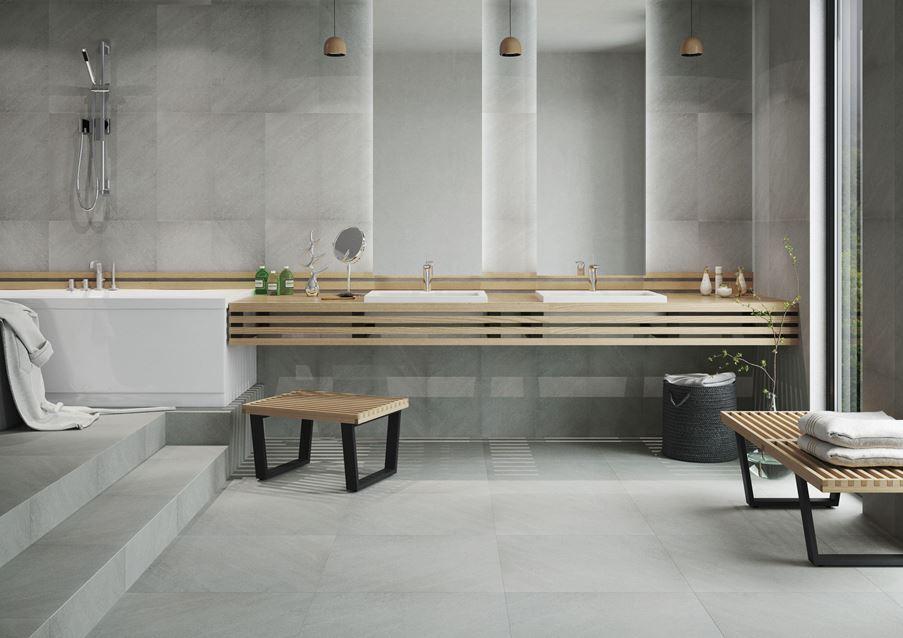 Stylowa łazienka w odcieniach szarości - Cerrad Campina