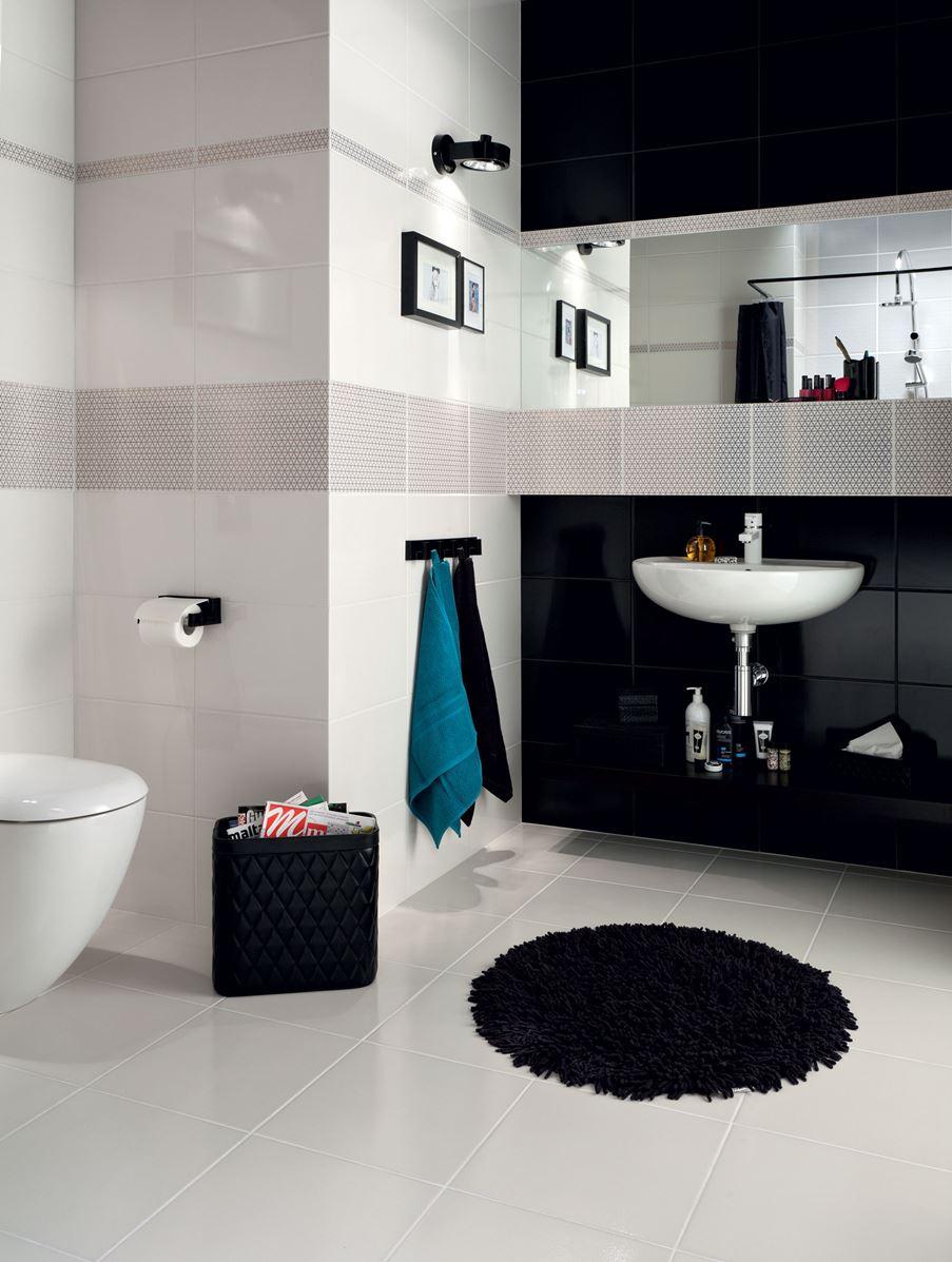 Czarno-biała aranżacja łazienki Domino Margot
