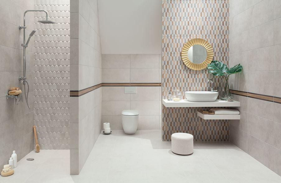 Szara łazienka z domieszką brązu Domino Dover