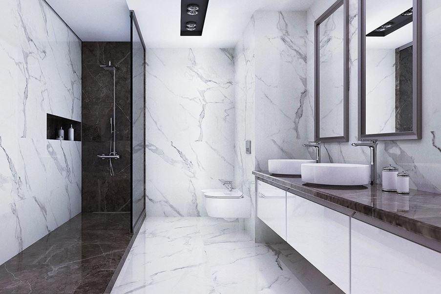 Piękno łazienki zaklęte w marmurowych barwach