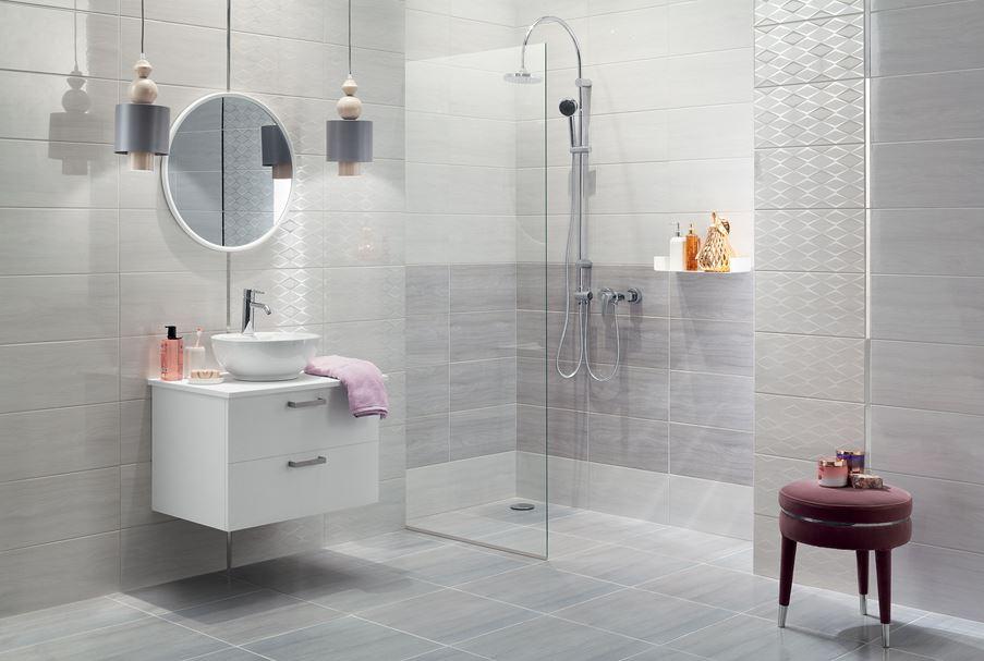 Stylowa, szara łazienka na wysoki połysk