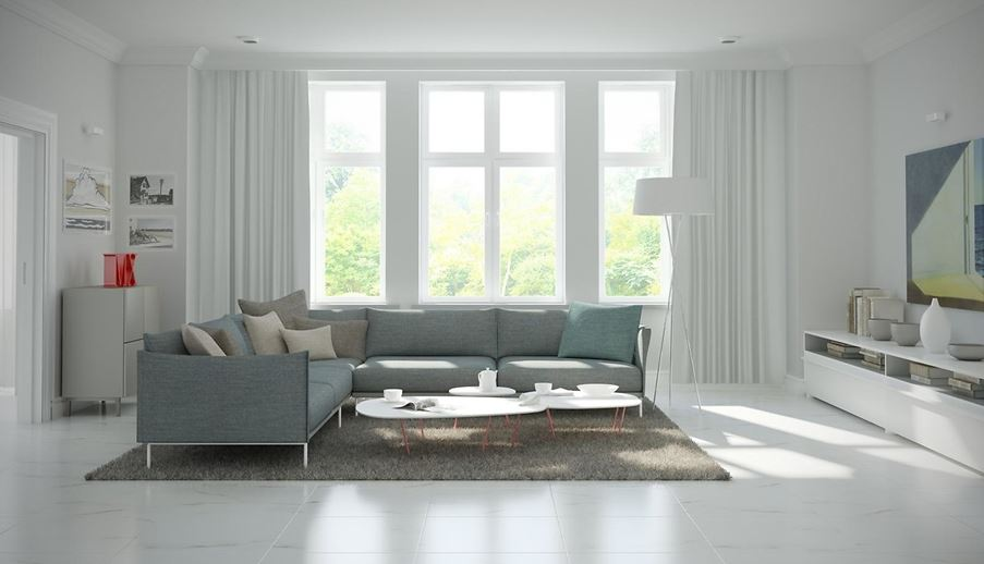 Przestronny salon w jasnych kolorach Opoczno Carrara