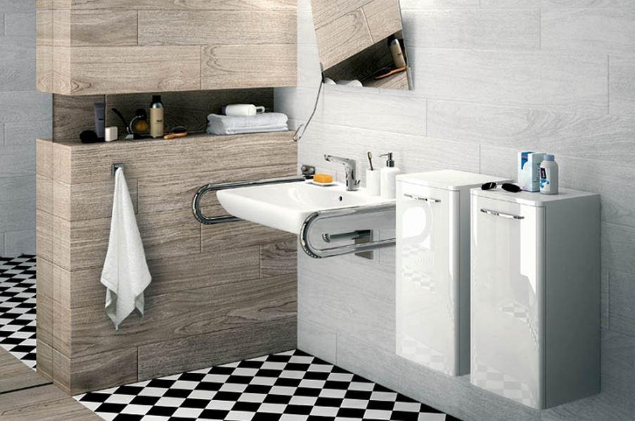 Strefa umywalkowa dostosowana do potrzeb osób niepełnosprawnych