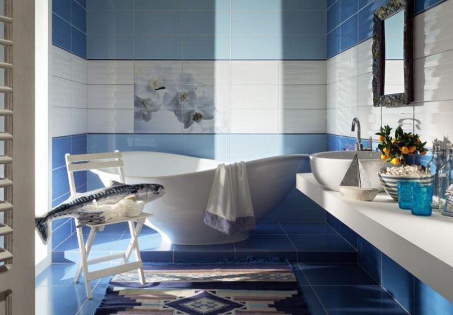 Marinistyczna aranżacja łazienki Tubądzin Maxima Blue