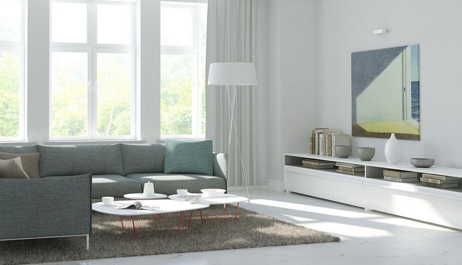 Aranżacja salonu w jasnych barwach Opoczno Carrara