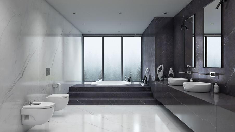 Luksusowy salon kąpielowy w marmurowych płytkach wielkoformatowych