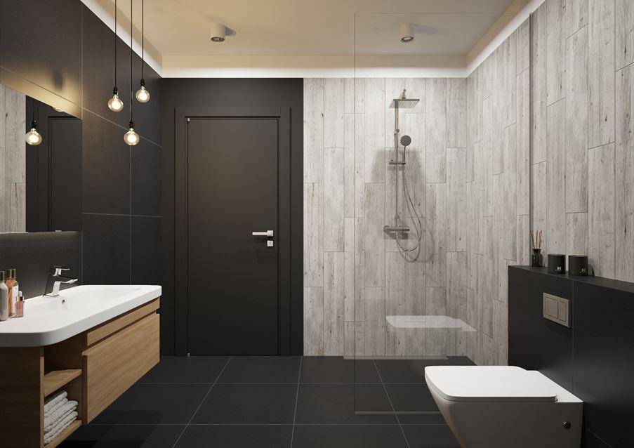 Brązowa łazienka z domieszką szarości Laroya Gris