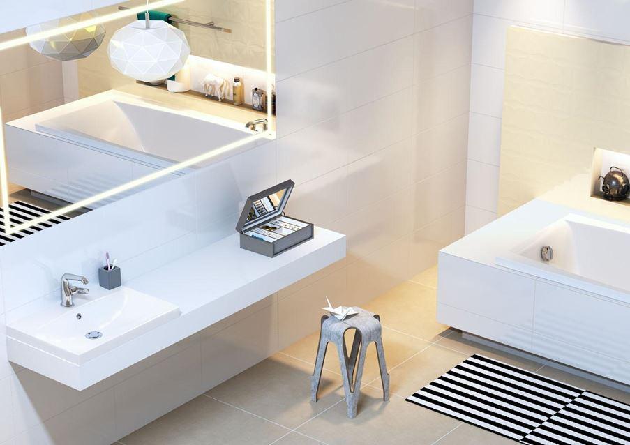 Jasna łazienka z kolekcją Opoczno Origami Dune