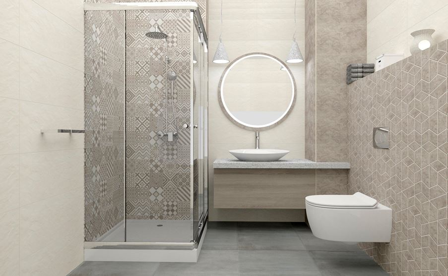 Stylowy patchwork w małej łazience - Tubądzin Igara