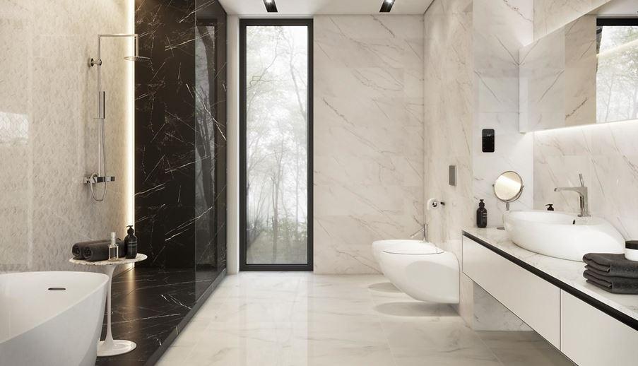 Biało-czarno marmurowa łazienka