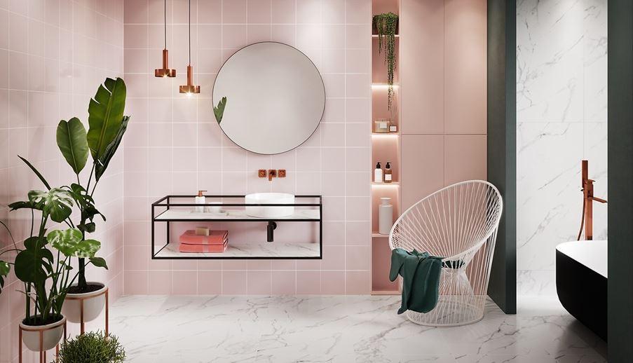 Różowa łazienka Opoczno Monoblock