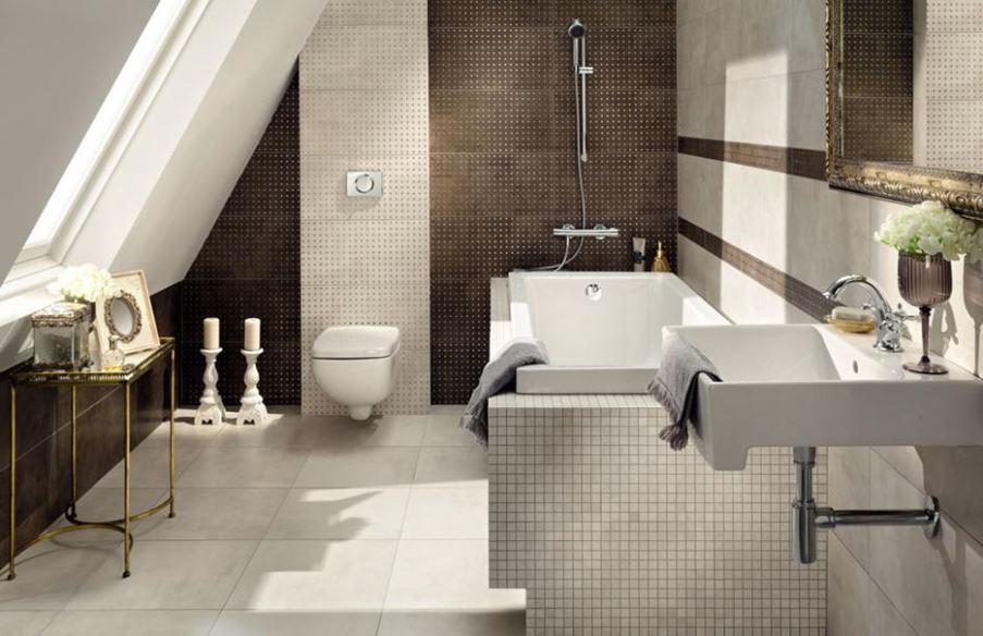 Łazienka w stylu glamour z dekorami Tubądzin Palacio