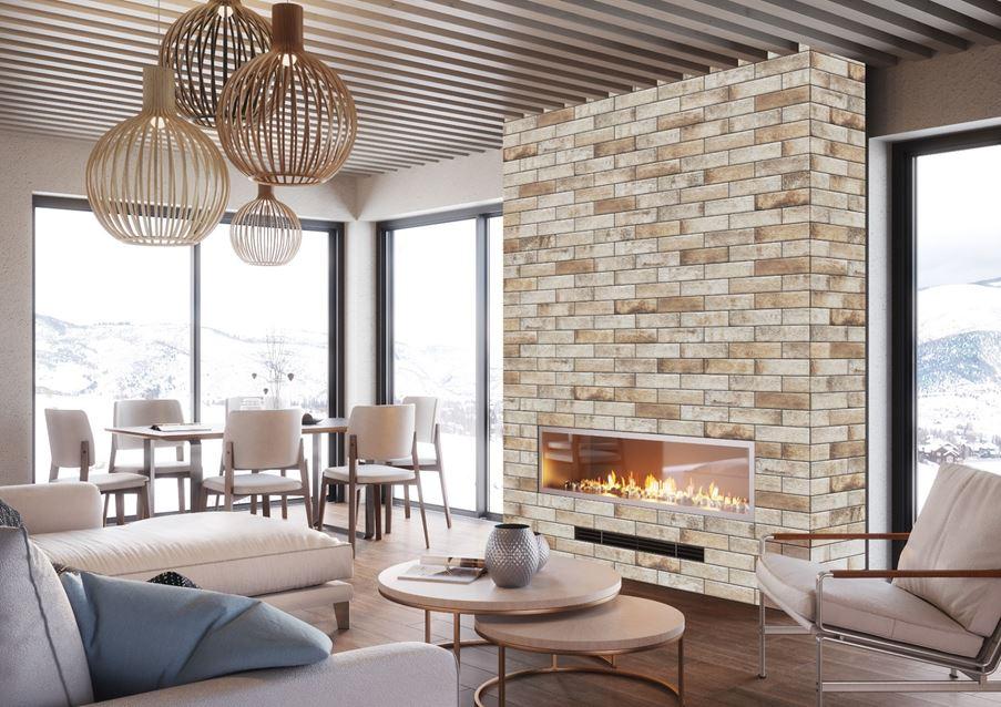 Salon z klinkierową ścianą Cerrad Piatto
