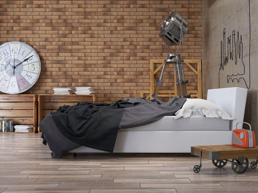 Sypialnia z klinkierową ścianą