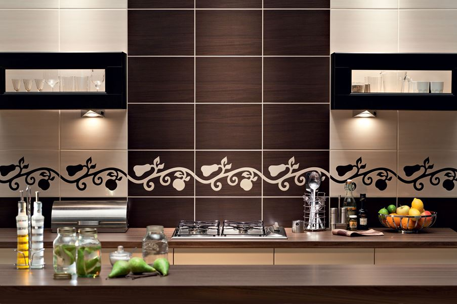 Dekoracyjna ściana w kuchni Domino Flare Fuscello