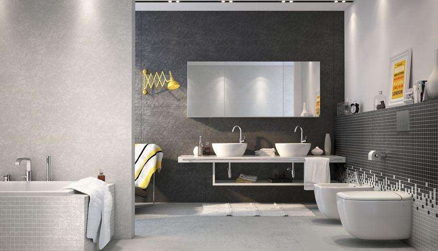 Łazienka w czarno-białych płytkach inspirowanych betonem Opoczno Equinox