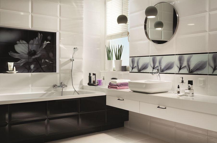 Stylowa łazienka z kwiatowym wzorem Domino Joy Flower