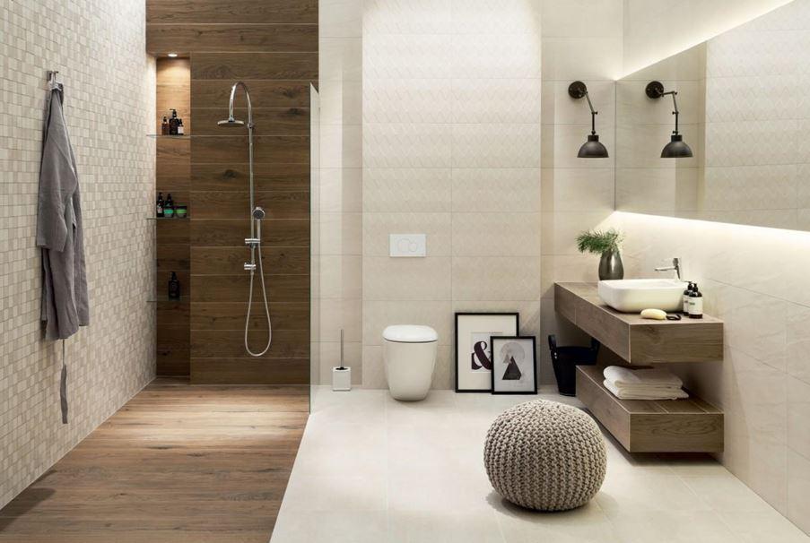 Płytki do łazienki Tubądzin Tortora - beżowa elegancja