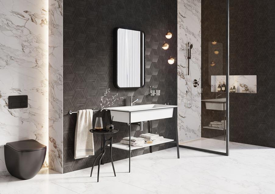 Czarno biała łazienka z linią Ferro Torrente