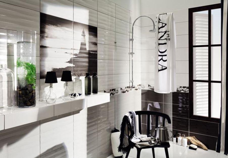 Czarno-biała łazienka z płytkami Tubądzin Maxima