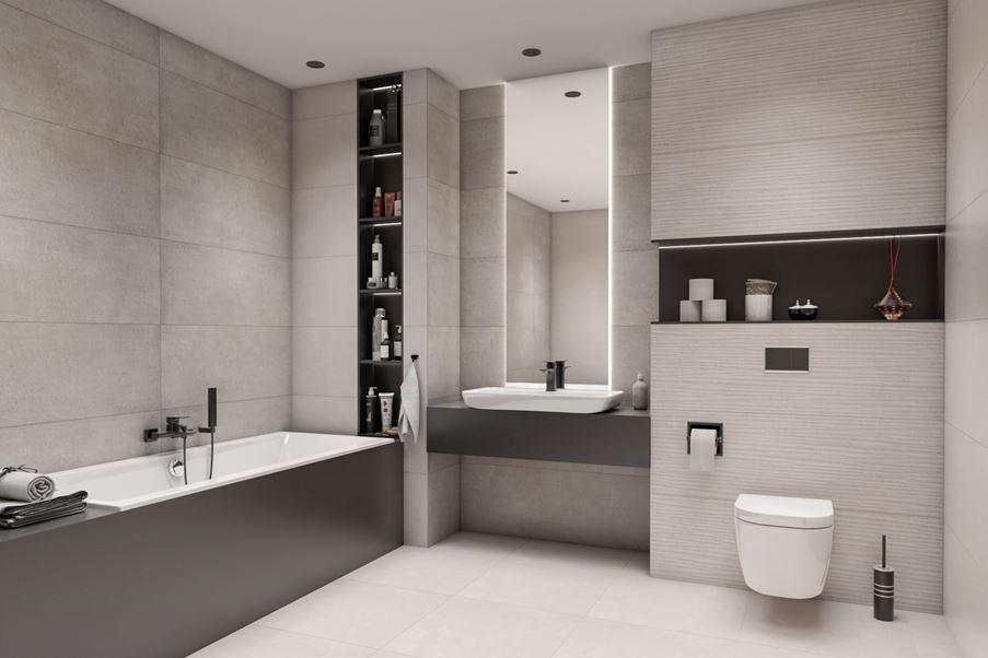 Czarno-szara łazienka Azario Intro