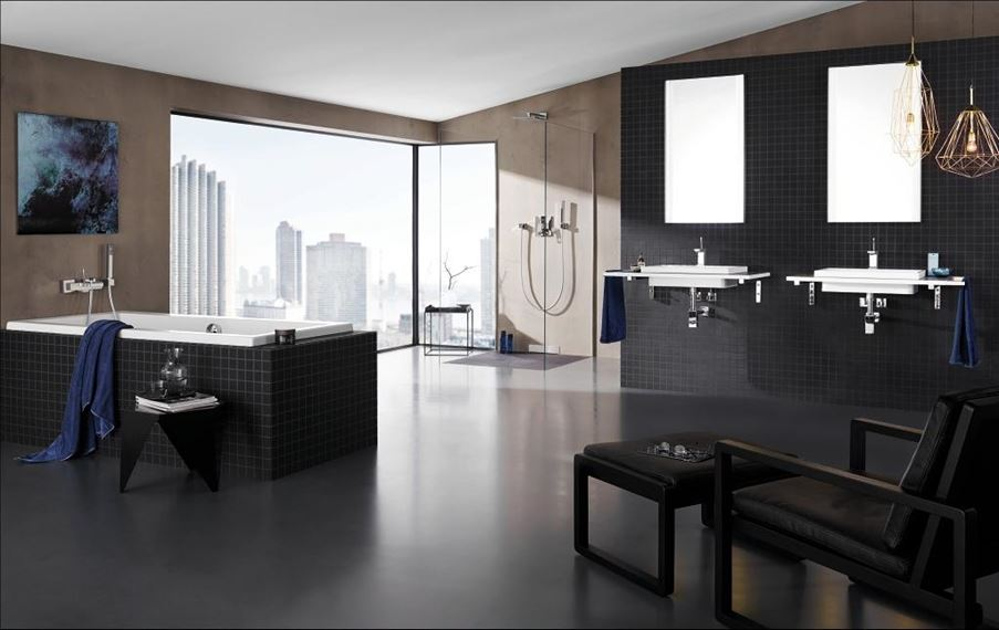 Aranżacja nowoczesnej, rodzinnej  łazienki