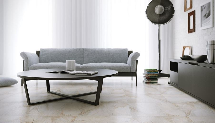 Podłoga w salonie inspirowana marmurem