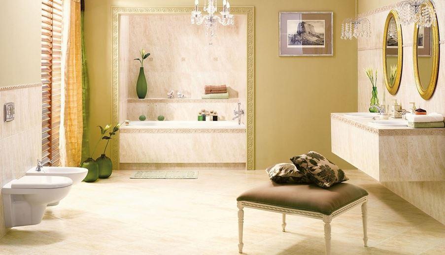 Klasyczna łazienka z ornamentowymi dekoracjami