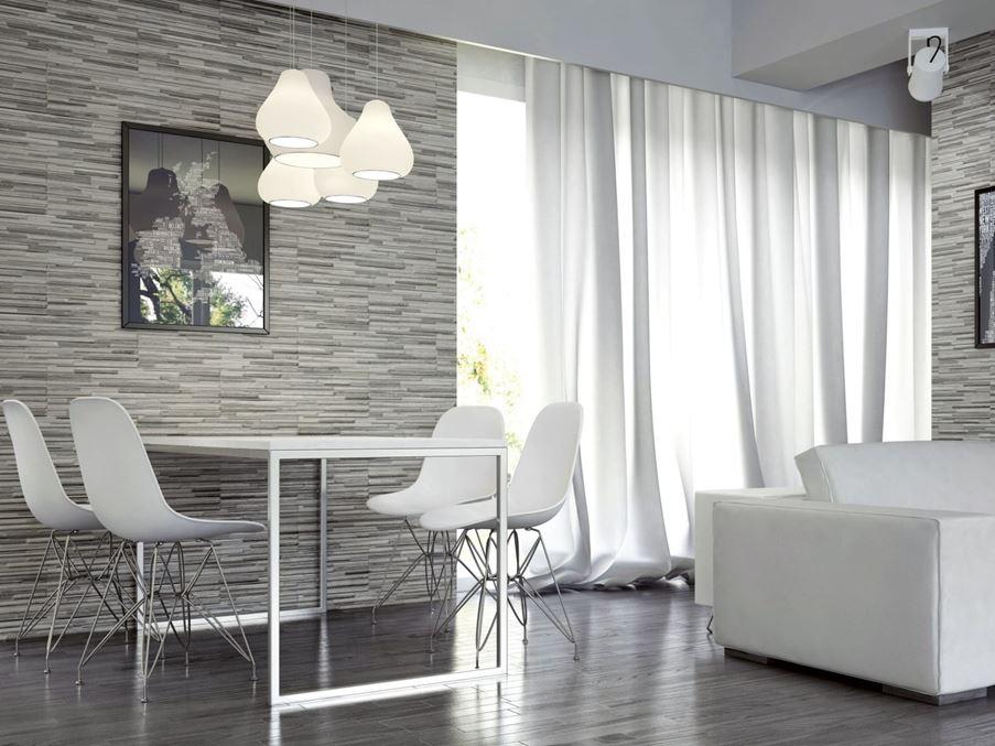 Biała strefa jadalniana w salonie