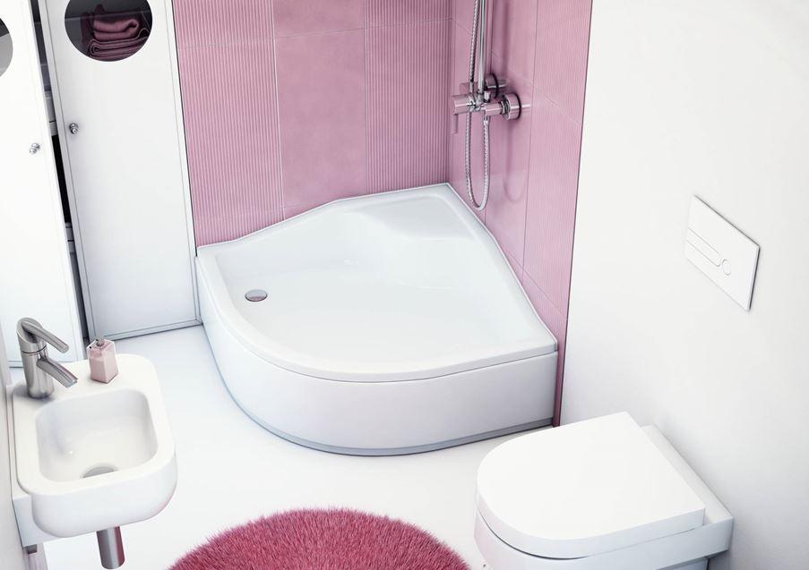 Różowa łazienka z białymi dodatkami Schedpol Bona