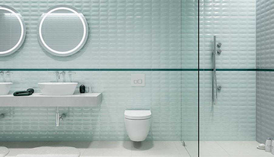Łazienka z płytkami strukturalnymi Opoczno Parisen