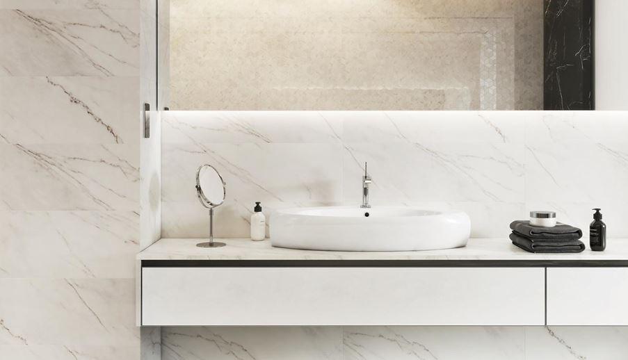 Strefa umywalkowa w białym marmurze