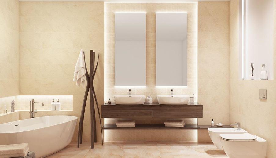 Ciepła łazienka w kolorze piasku