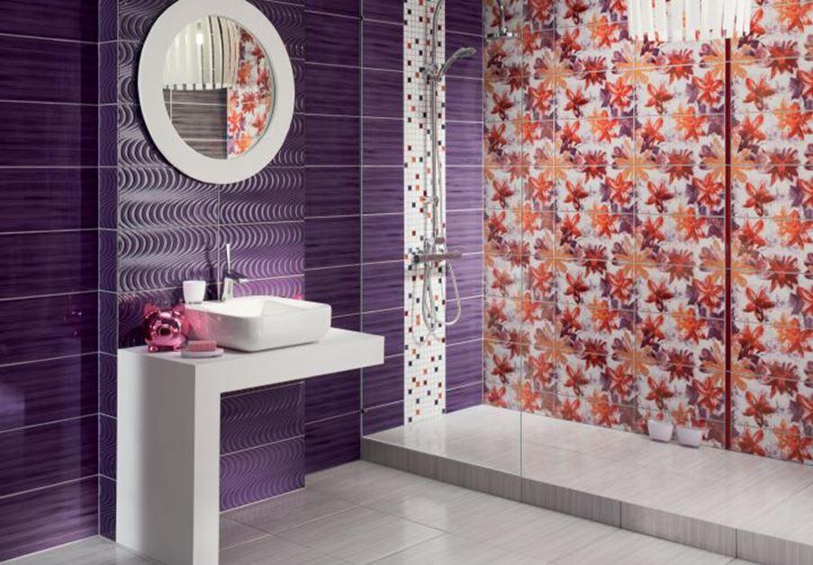 Pomarańczowo-fioletowa łazienka Tubądzin Wave