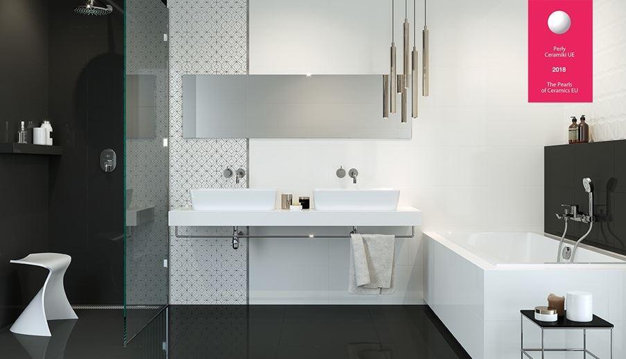 Biało-czarna łazienka w stylu glamour kolekcja Black Glamour