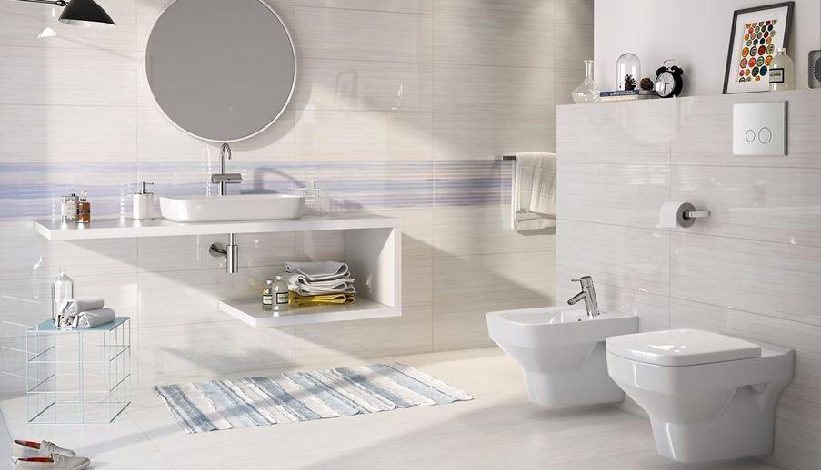 Subtelna elegancja aranżacji łazienki z kolekcji Opoczno Elegant Stripes